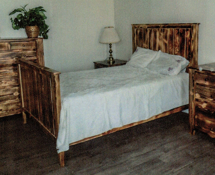 Charred Pine Bed by Waterfall Woodcraft