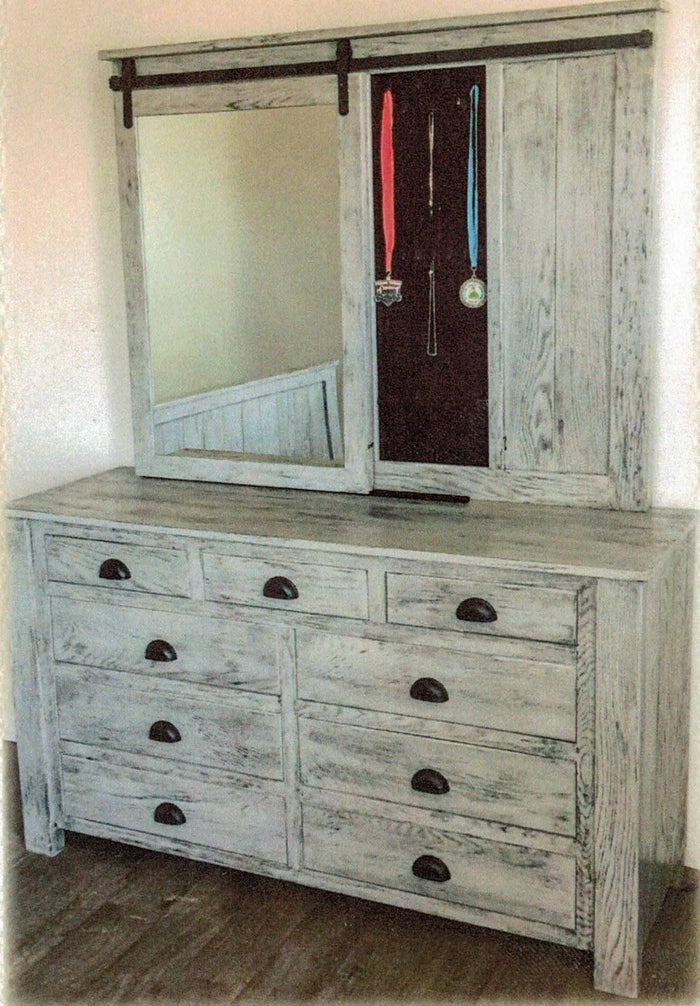 Modern Rustic Deluxe Dresser with Jewelry Mirror by Waterfall Woodcraft