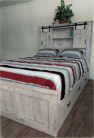 Modern Rustic Storage Bed with Bookcase Headboard by Waterfall Woodcraft