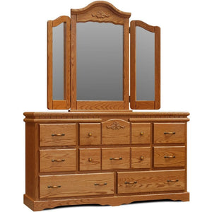 Vintage 8 Drawer Dresser with Wing Mirror by Wolfcraft