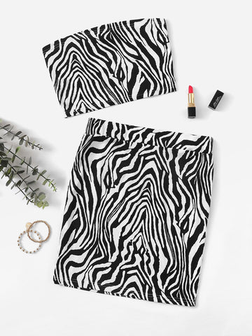 Zebra Pattern Bandeau & Slim Fitted Skirt Set