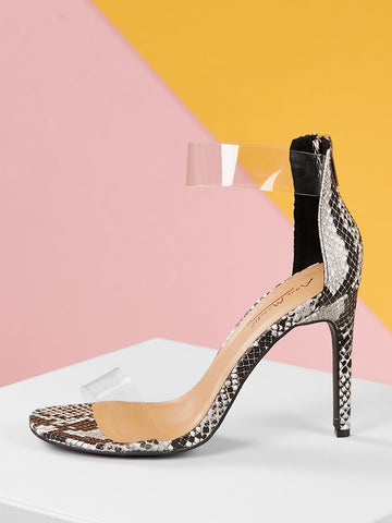 Clear Band And Strap With Snake Print Detail Heels