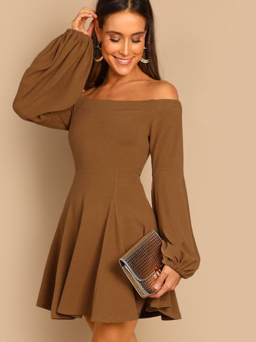 Bishop Sleeve Flare Bardot Dress