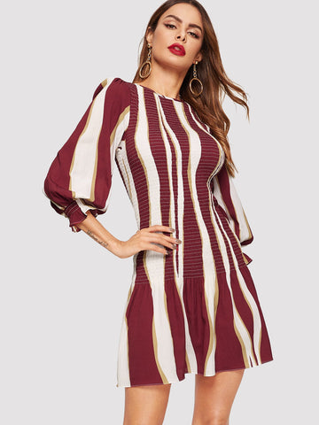 Color Block Bishop Sleeve Smock Dress