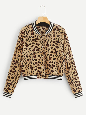 Button Up Leopard Bomber Teddy Jacket