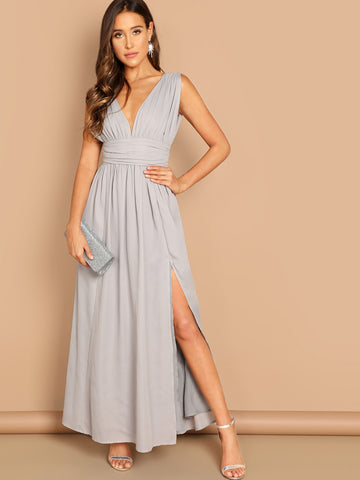 Deep V-neck Ruched Wide Waistband Slit Dress