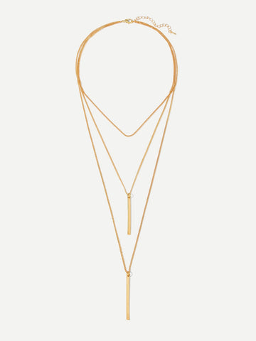 Bar Pendant Layered Chain Necklace