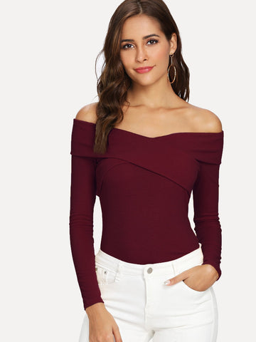 Cross Wrap Front Rib Knit Bardot Tee