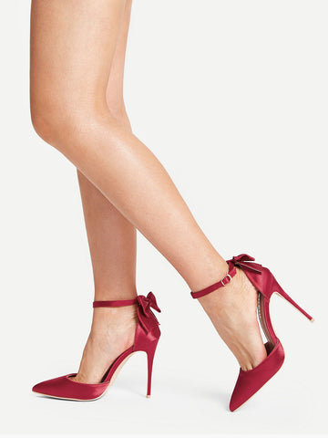 Bow Back Ankle Strap Stiletto Heels