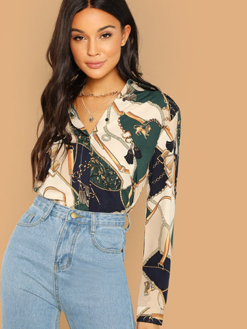 Chain Print Color Block Blouse