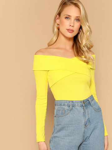Cross Wrap Off Shoulder Rib-Knit Top