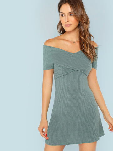 Cross Wrap Front Off Shoulder Rib Dress