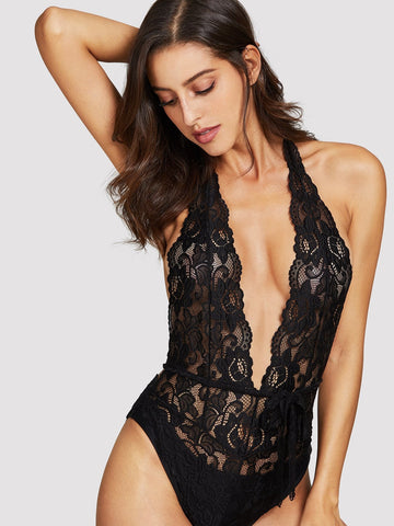 Deep-V Floral Lace Teddy Bodysuit