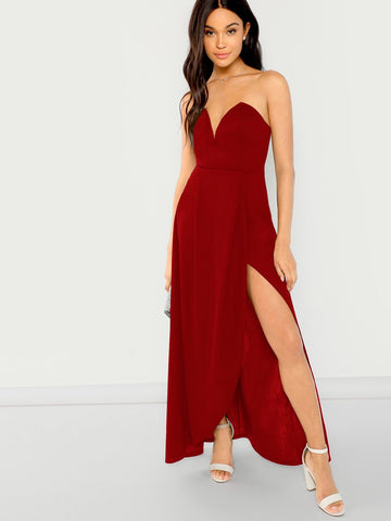 Bandeau Off Shoulder Split Solid Dress