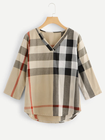 Checked Dip Hem Blouse