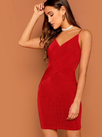 Crisscross Form Fitting Velvet Cami Dress