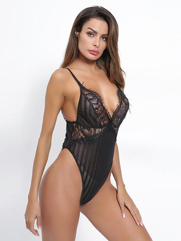 Contrast Lace Striped Teddy Bodysuit