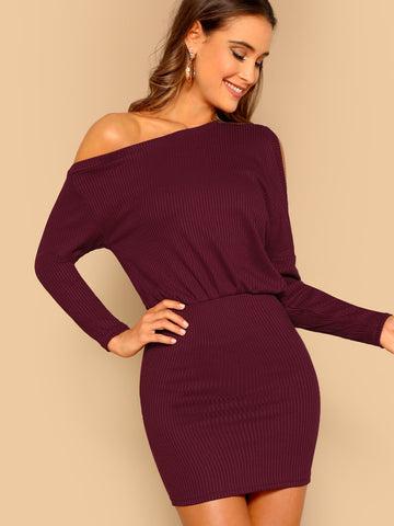 Asymmetric Cold Shoulder Rib Knit Blouson Dress