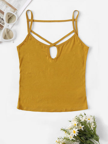 Criss-cross Neck Form Fitting Cami Top