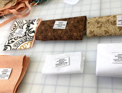Pattern pieces for Ginger handbag by Sallie Tomato with labels indicating which piece they are