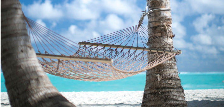 Hammock on the beach between two palm trees