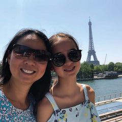 Mom and daughter at the Eiffel Tower