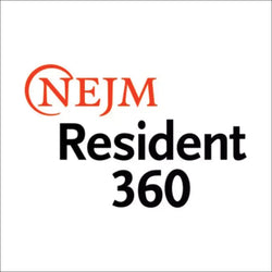 NEJM Resident 360 orange and black logo on a white background