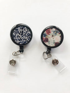 Retractable Badge Reel - Floral Blue - Floral Red