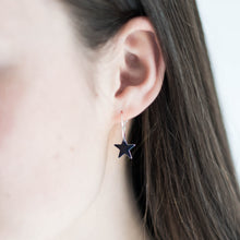 Load image into Gallery viewer, Pop of Colour Star Sterling Silver Hoops