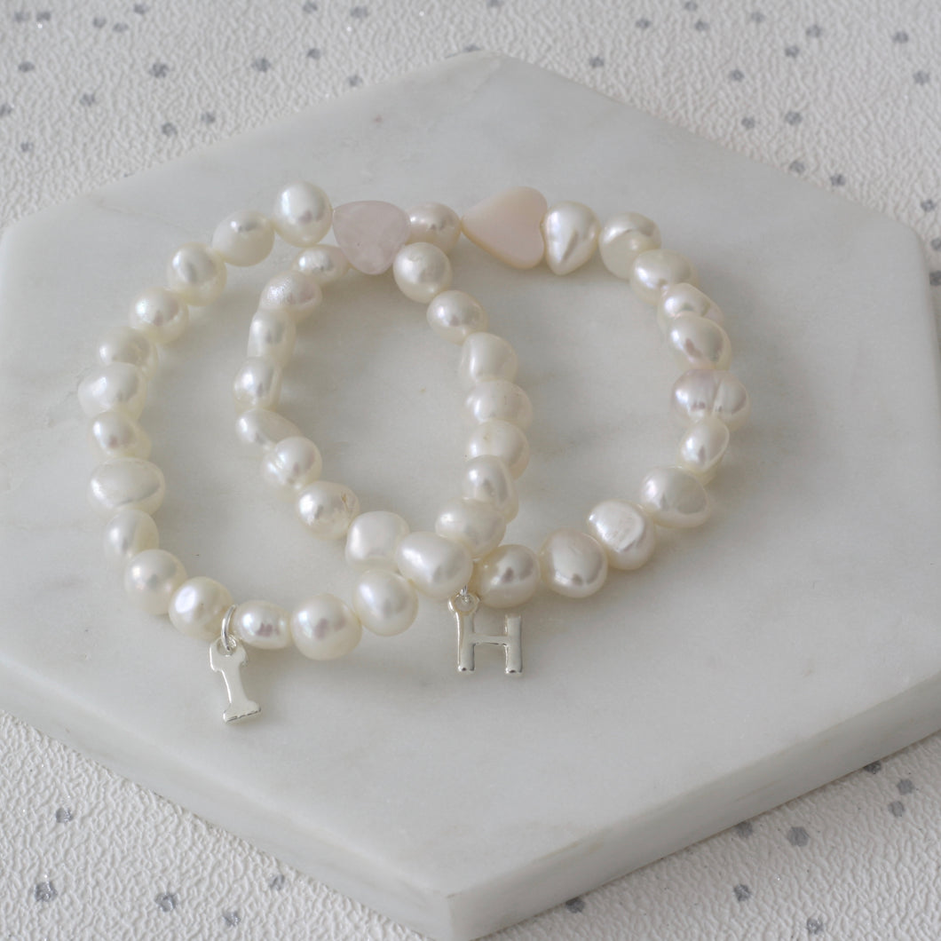 Girls Heart and Pearl Initial Bracelet