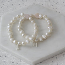 Load image into Gallery viewer, Girls Heart and Pearl Initial Bracelet