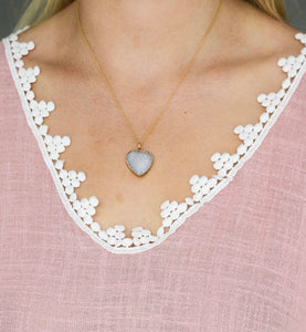 Druzy Heart Gold Necklace