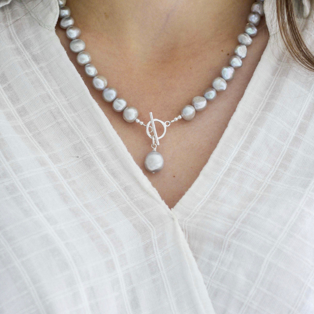 Silver Grey Baroque Pearl Necklace
