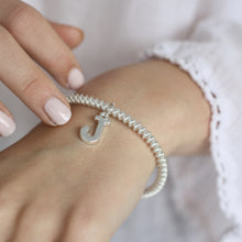 Load image into Gallery viewer, Silver Initial Coil Stretch Bracelet