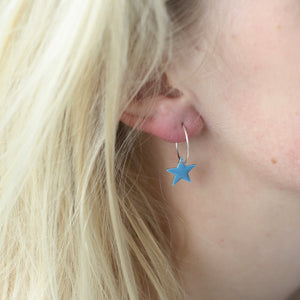Pop of Colour Star Sterling Silver Hoops