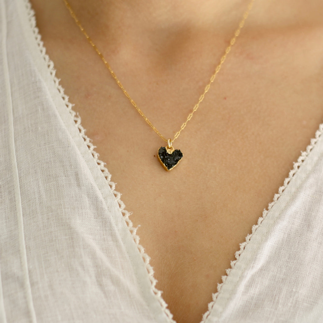 Black Heart Druzy Gold Plated Necklace