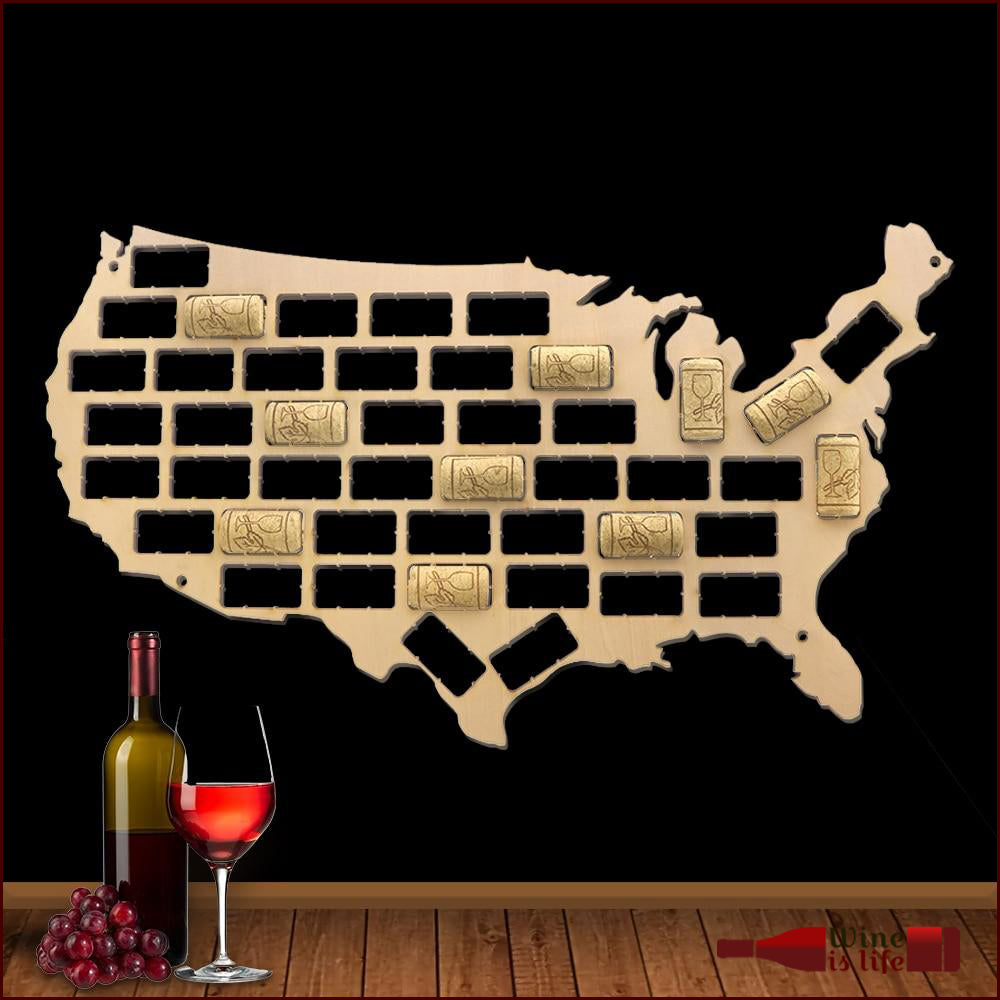 Wine Cork Map - Wine Is Life Store