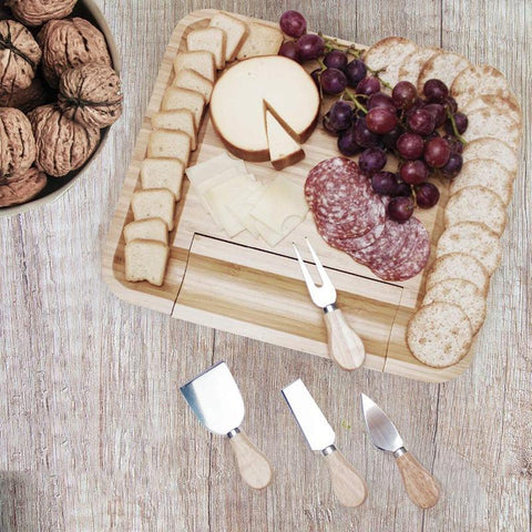 Bamboo Cheese Board (Charcuterie) & Knives - Wine Is Life Store
