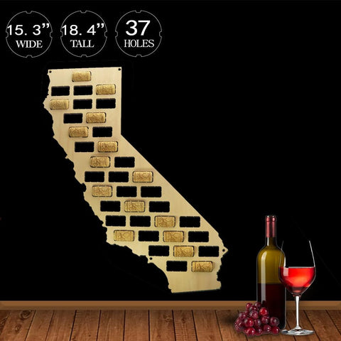 California Wine Cork Map - Wine Is Life Store