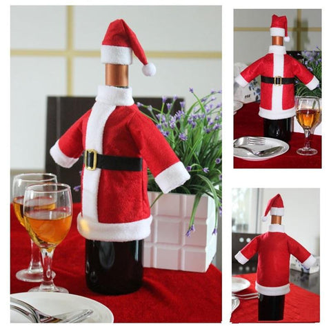 Christmas Wine Bottle Covers (Santa Coat & Hat) - Wine Is Life Store