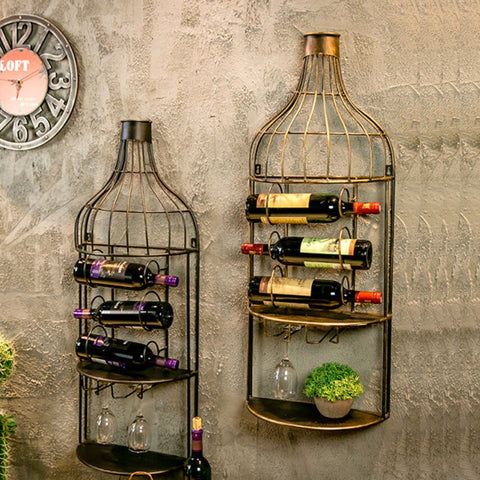 Vintage Wine Wall Rack - Wine Is Life Store