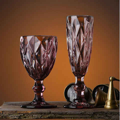 Retro Embossed Wine Glasses (set of 2) - Wine Is Life Store