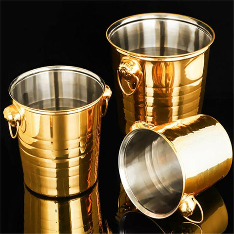 Stainless Champagne Steel Ice Bucket (Golden & Silver) - Wine Is Life Store
