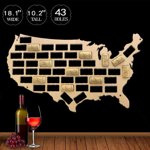 USA Wine Cork Map - Wine Is Life Store