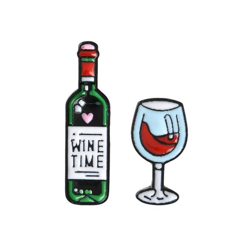 Wine Bottle & Wine Glass Pin (Brooche) - Wine Is Life Store
