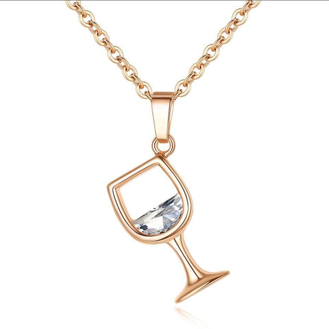 Wine Glass Necklace with Zirconia - Wine Is Life Store