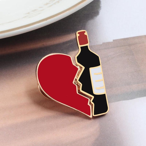 Wine & Heart Brooch / Pin - Wine Is Life Store