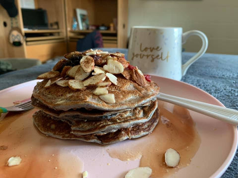 High Protein Almond Berry Pancakes