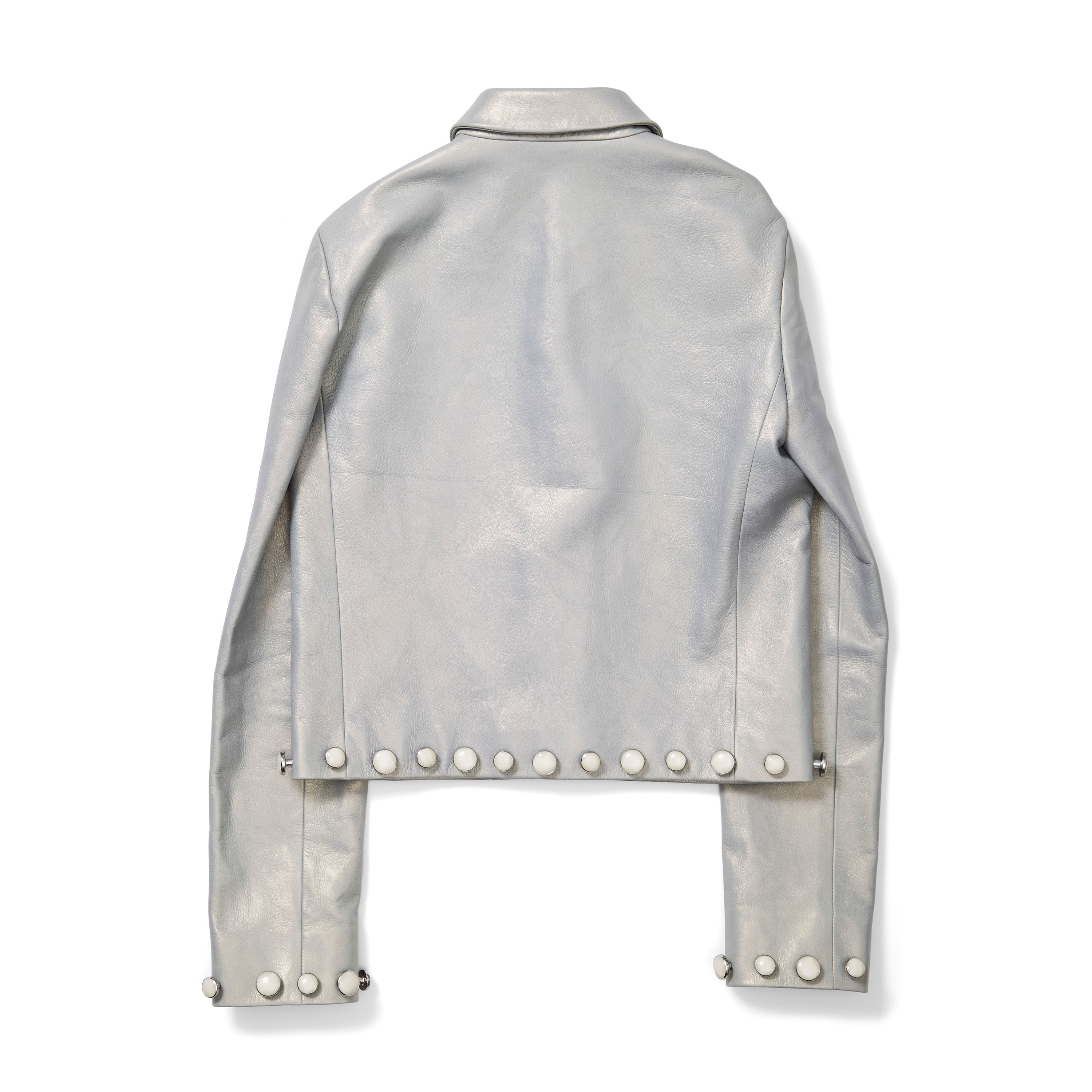 Calvin Klein Grey Leather Jacket with Pearl Studs