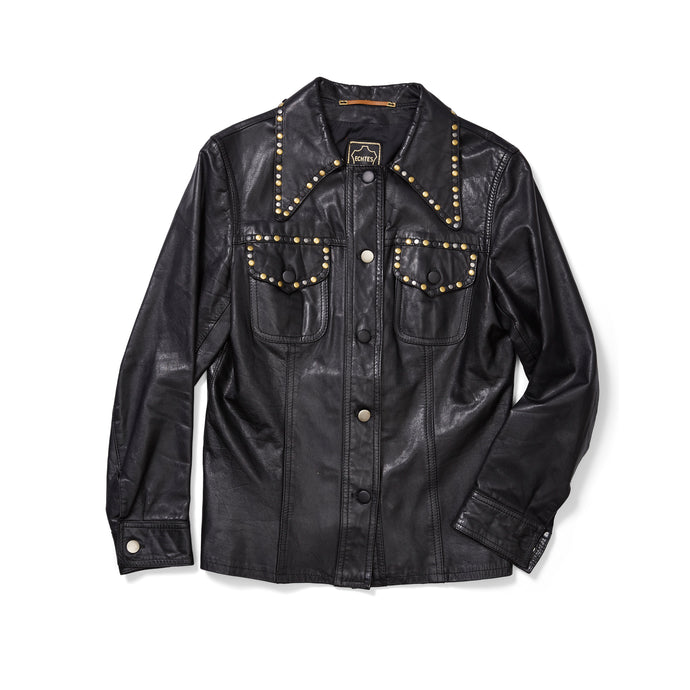 70s Leather Shirt Jacket with Studded Collar